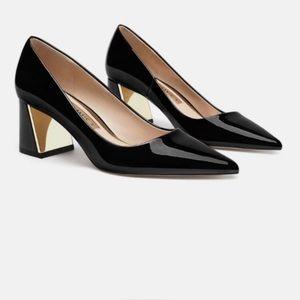 Zara basic block heel - size 6 - black pointed